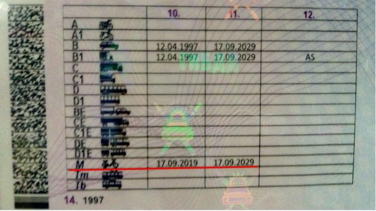 Документы на управление мопедом до 50 кубов